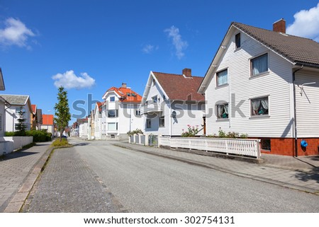 Row of typical Norwegian houses in Stavanger.