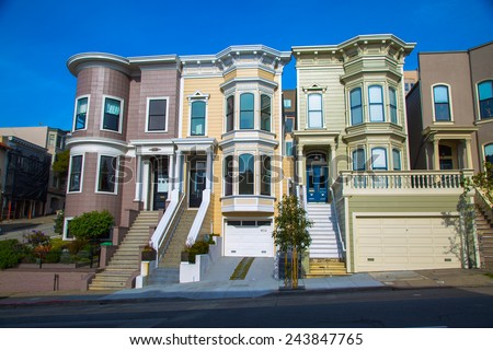Row of victorian houses in San Francisco - stock photo