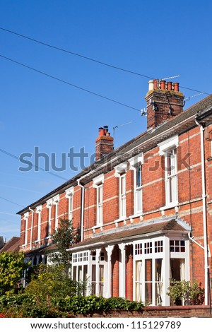 Row of victorian town houses in a UK town - stock photo