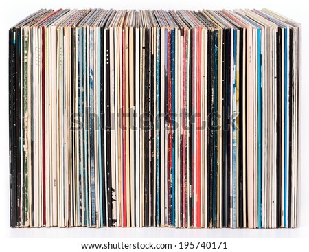 Row of vinyl records, isolated on white - stock photo