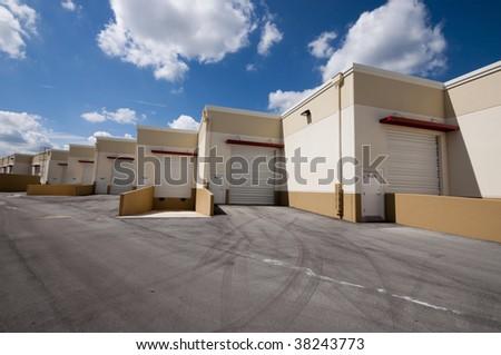Row of Warehouse doors - stock photo