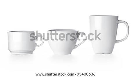 Row of white cup isolated on white background