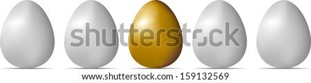 Row of white eggs with golden one isolated on white background. Raster version of EPS id:30591517 - stock photo