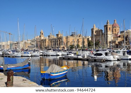 Row of white yachts in the port, Malta - stock photo
