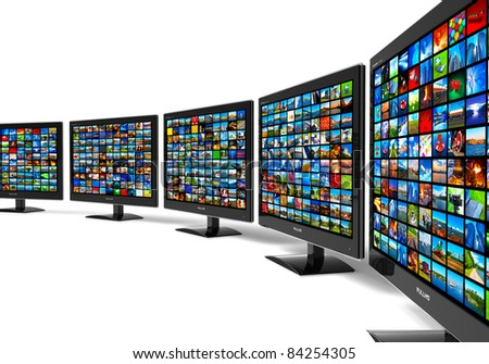 Row of widescreen HD displays wtih multiple images isolated on white background - stock photo