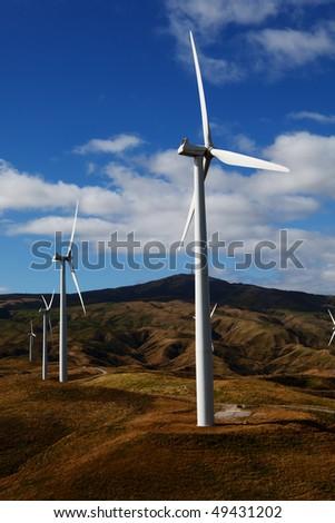 Row of wind Turbines - stock photo