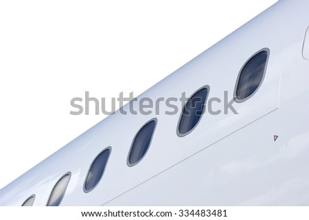 Row of Windows of an Airplane isolated on white background