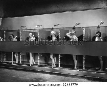 Row of women in public showers
