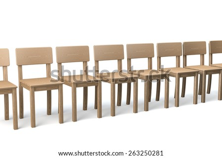 Row of wooden chairs on white background, conformist, 3d rendering - stock photo