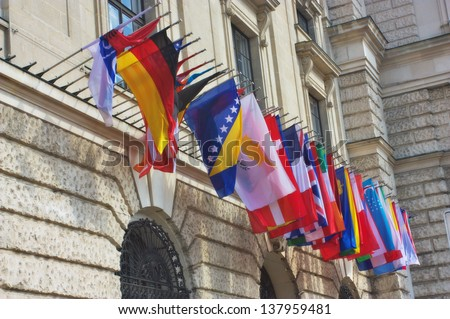 Row of world flags - stock photo