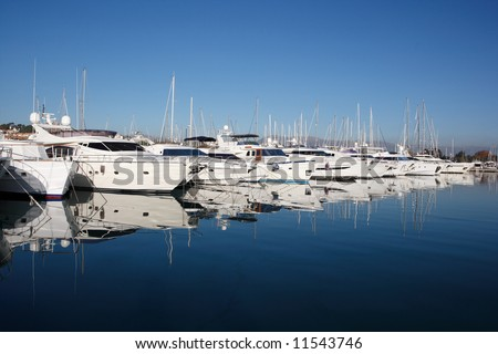 row of yachts