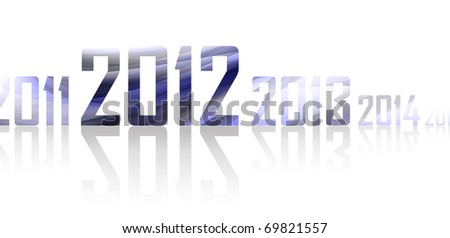 Row of years with reflections on white background (theme of 2012 year) - stock photo