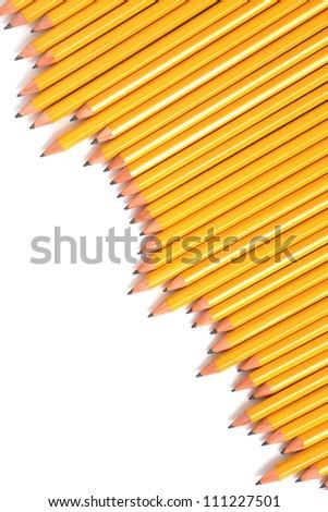 row of yellow school pencils - stock photo