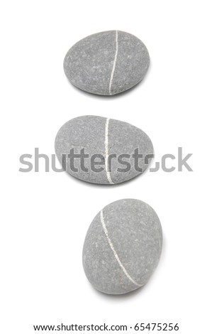 Row pebbles. Sea striped stones isolated - stock photo