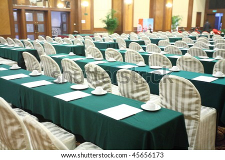 row seat in conference room interior - stock photo