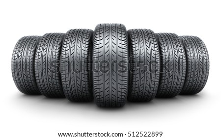 Row tire car white background. 3d illustration