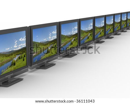 Row TV on white background. Isolated 3D image - stock photo