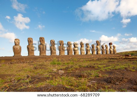 Row with old statues at Easter island