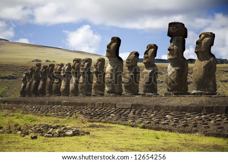 row with statues at easter island