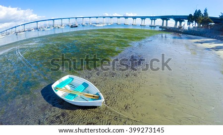 Rowboat on an Island - stock photo