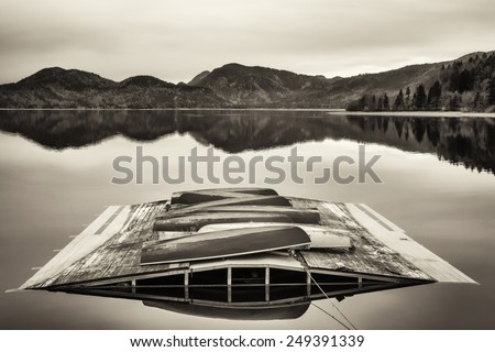 rowboats at a lake in bavaria - stock photo