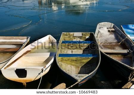 Rowboats in fishermen village of Rockport on Atlantic coast of Massachussets - stock photo