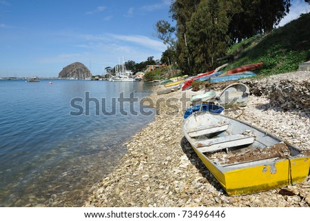 Rowboats on Shore at Morro Bay California - stock photo