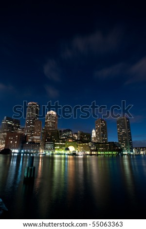 Rowe's Wharf of Boston at night in vertical - stock photo