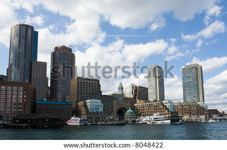 Rowes Wharf in Boston as seen from the Moakley Courthouse - stock photo
