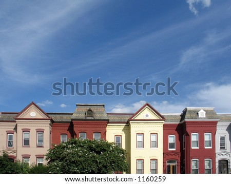 Rowhouse rooftops in DC, with plenty of room for copy - stock photo