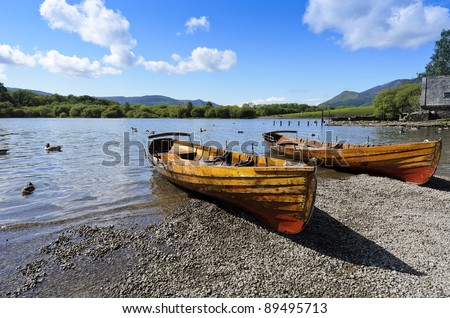 Rowing boat at side of Derwent Water in Lake District National Park Cumbria England - stock photo