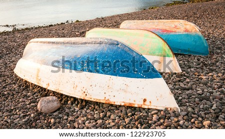 rowing boats - stock photo