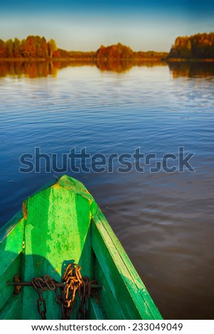 Rowing boats in Russian district floats to the coast - stock photo