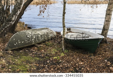 Rowing boats on a lakeside