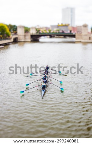 Rowing Crew on the River - stock photo