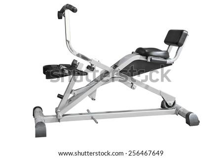 rowing machine isolated on white background - stock photo