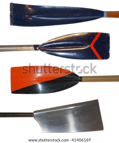 Rowing oars, antique to modern - stock photo