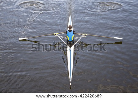 rowing on a beautiful lake in Italy - stock photo