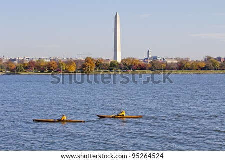 rowing on potomac river,Washington Monument in the background DC, United States - stock photo