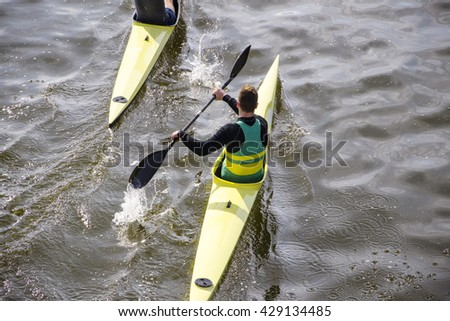 rowing race in Italy - stock photo