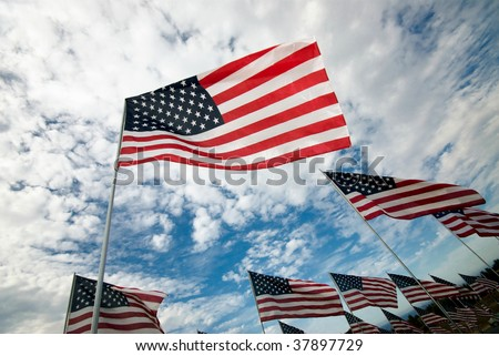 Rows of American flags wave in the wind under a blue sky with clouds