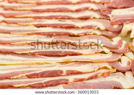 rows of bacon - stock photo