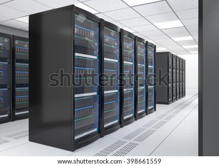 Rows of blade server system in data center. 3D rendering image. - stock photo