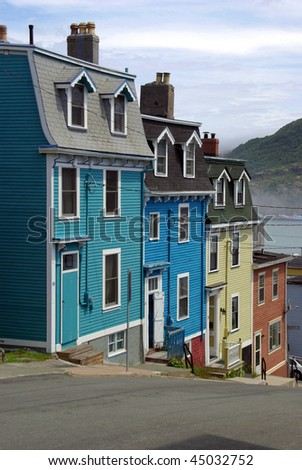 Rows of Bright Colored Houses - stock photo