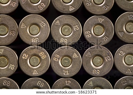 rows of bullets, 12-th caliber - stock photo