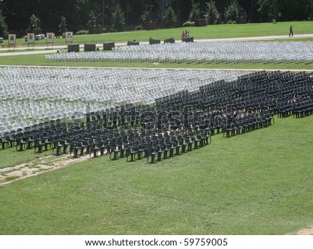 rows of chairs at the top of Jasna Gora in Czestochowa, Poland - stock photo