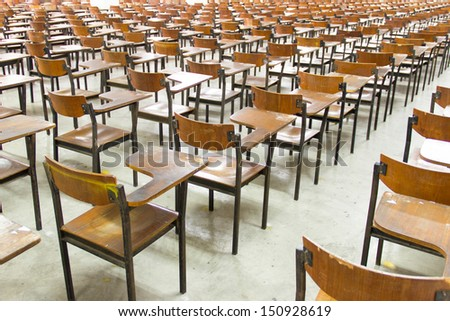 Rows of chairs in the big  classroom - stock photo