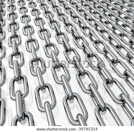 Rows of chrome chains on a neutral light background - stock photo