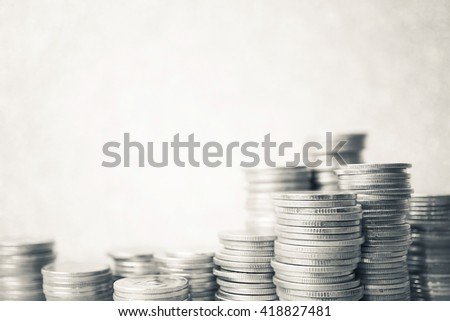 rows of coins and account for finance and banking concept - stock photo