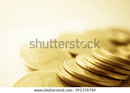 rows of coins for finance and banking concept - stock photo